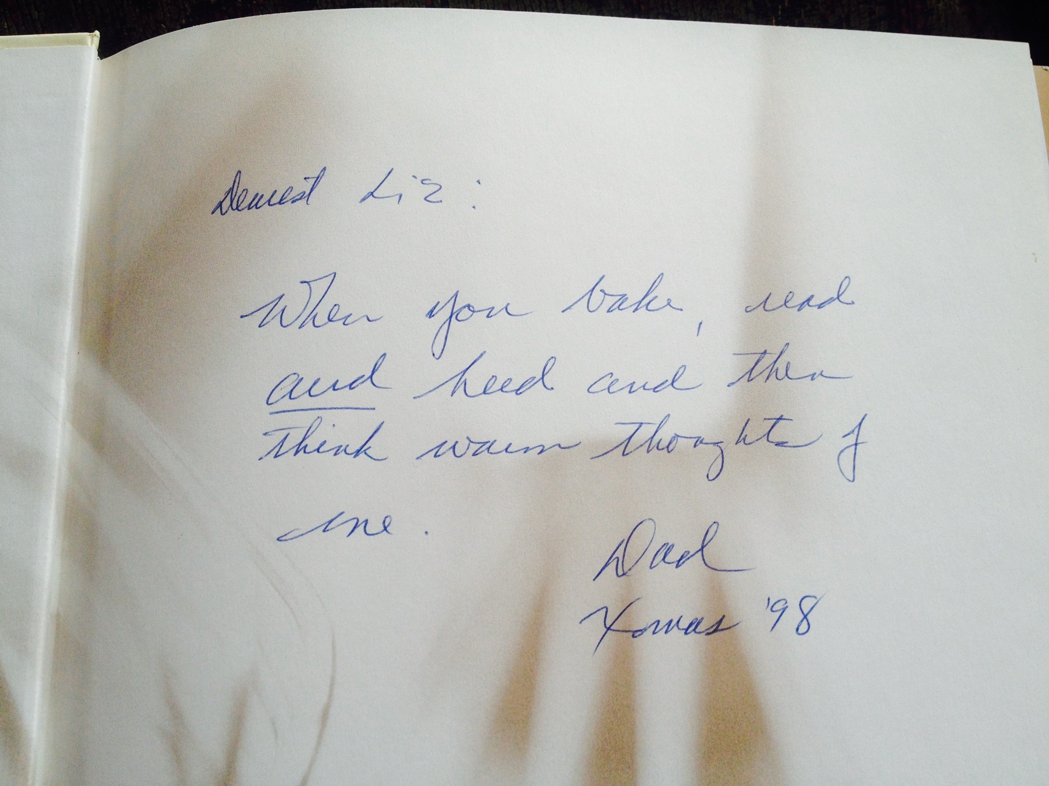 cookbook inscription