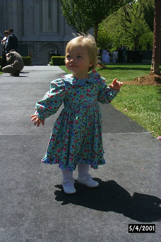 Little Rebecca in dress on temple square