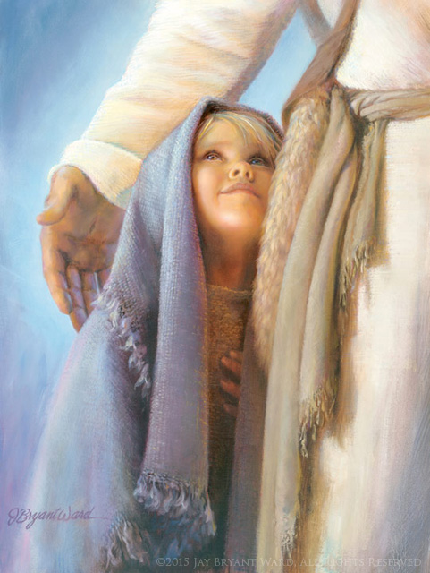 under-his-wing-little girl with blue scarf and Jesus