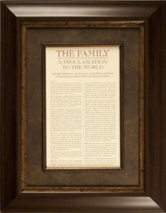 Family Proclamation framed