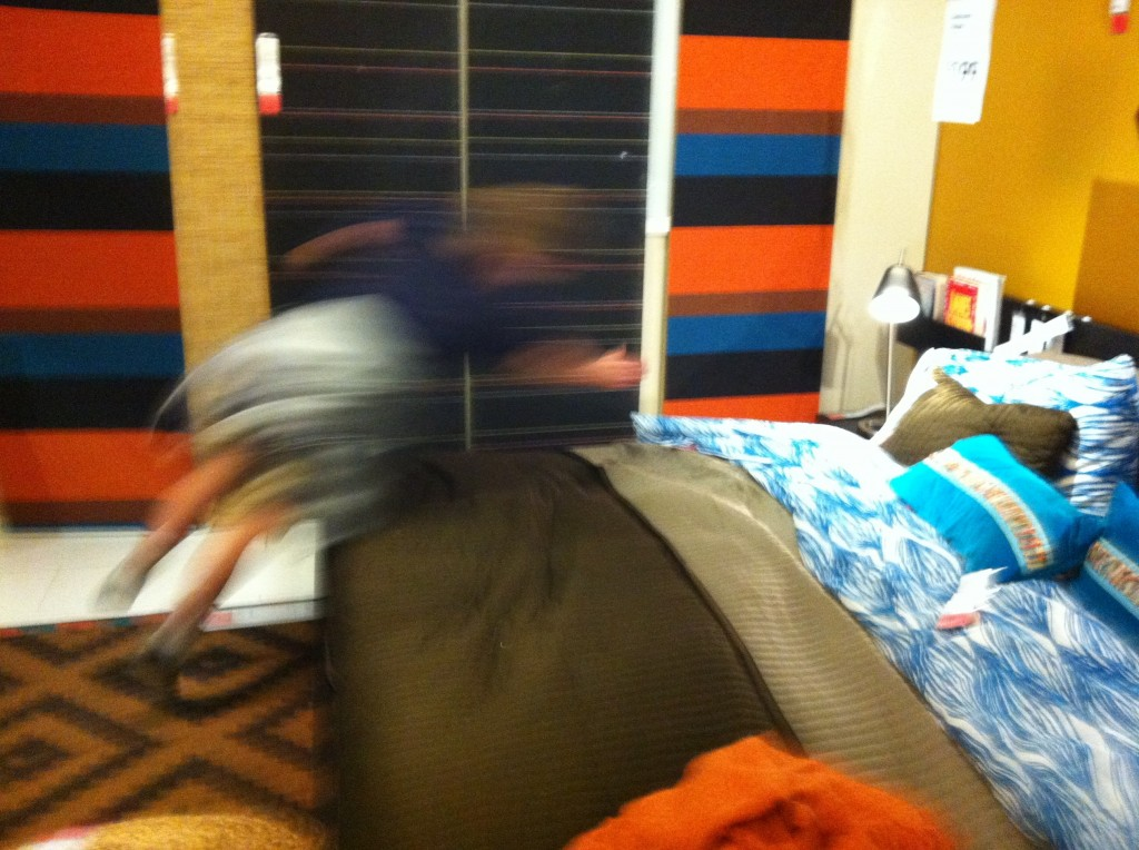 Jumping onto IKEA bed (tag)