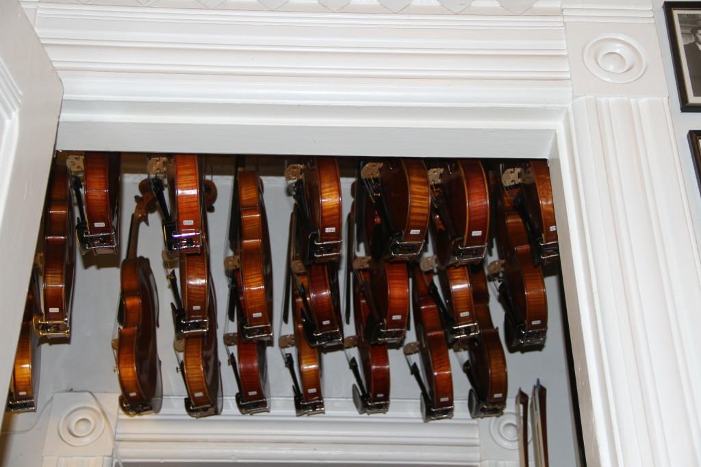 Violin store hanging violins