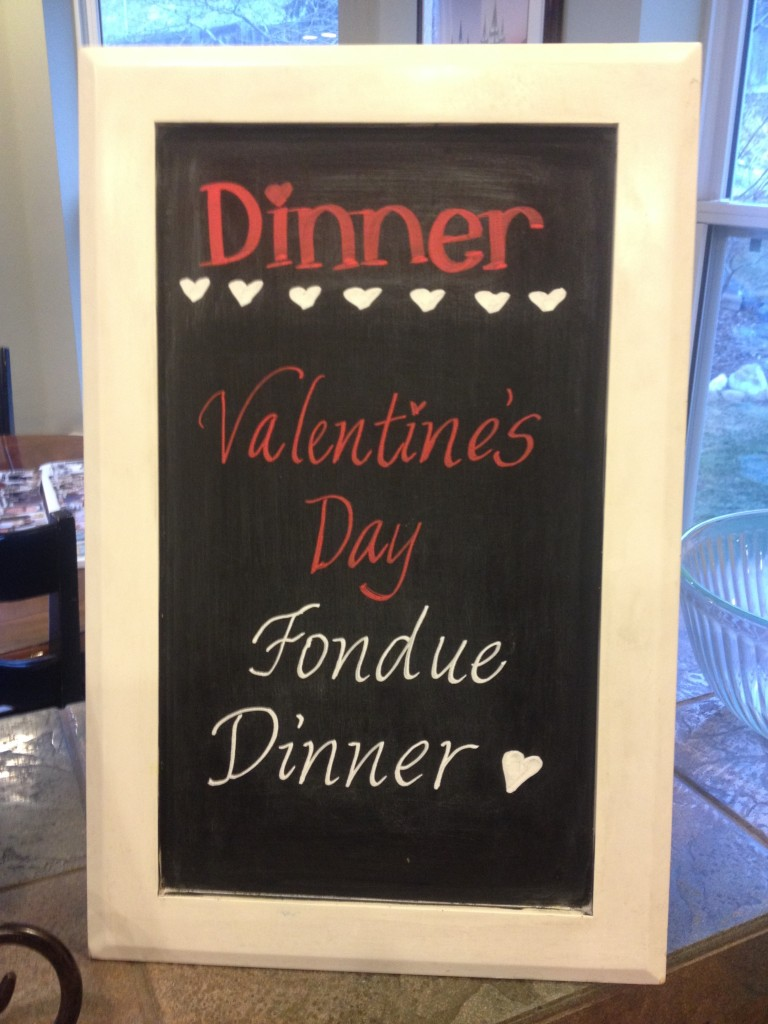 Valentine's dinner menu sign