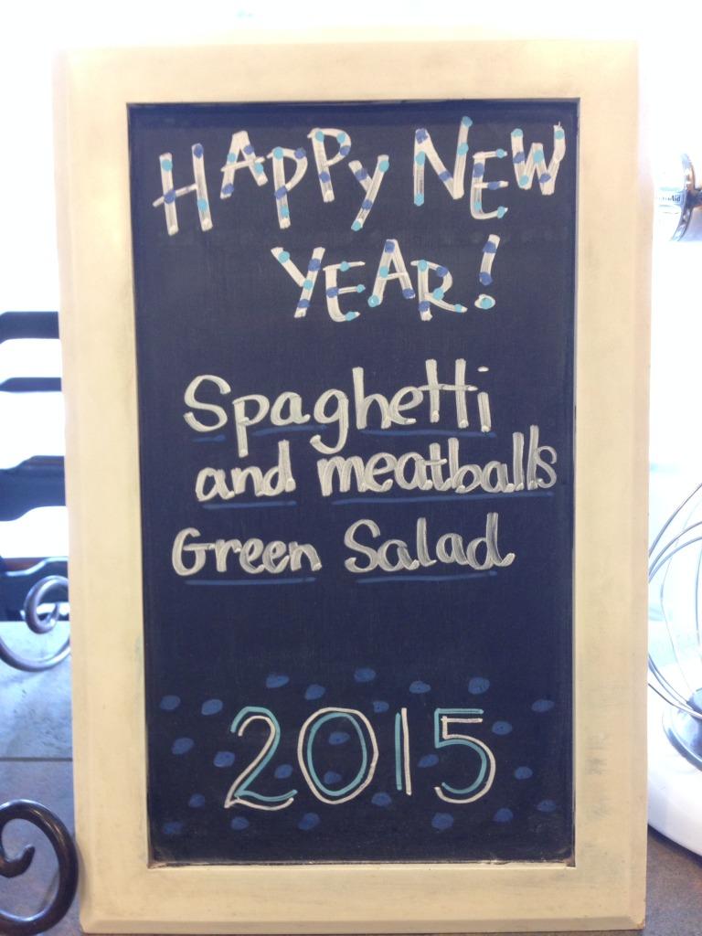 Happy New Year menu blackboard