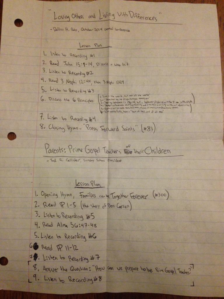 FHE lesson notes from Elder Livi