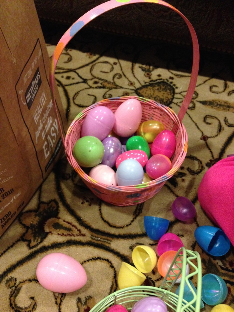 Easter basket and plastic eggs