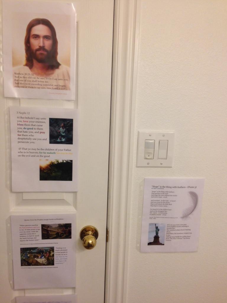 Scripture memorization on bathroom door