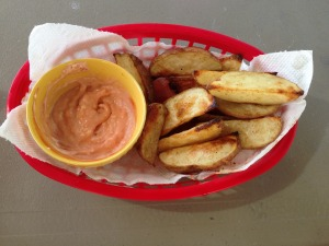 red potato fries with fry sauce