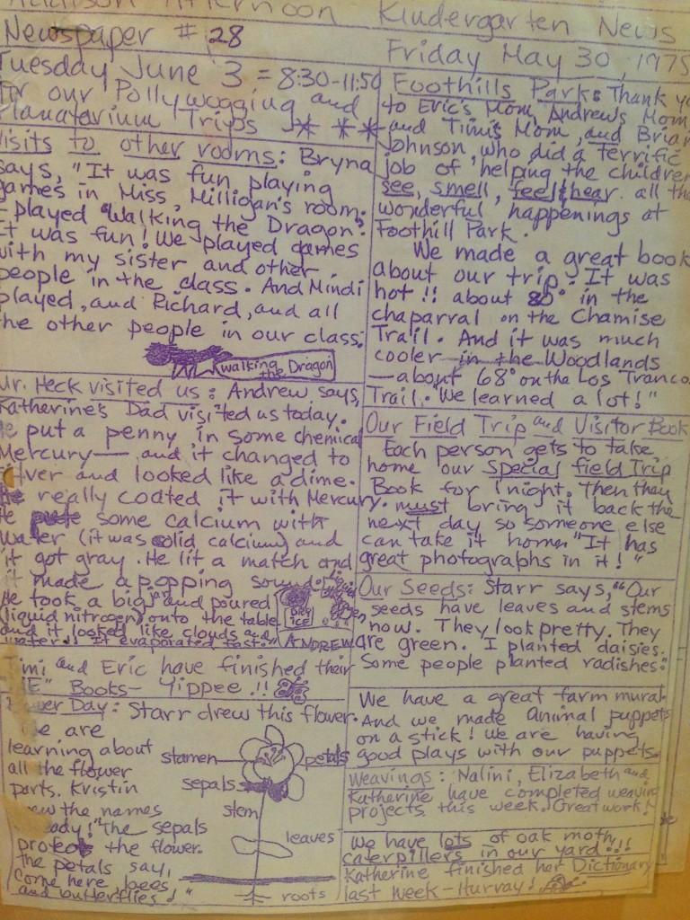 Mrs. Policci's handwritten newsletter