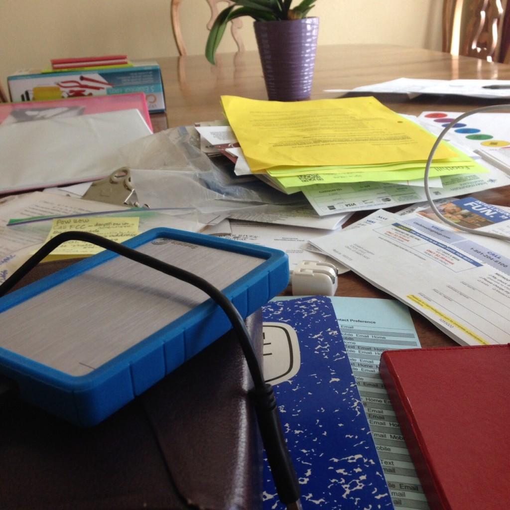 paperwork piles