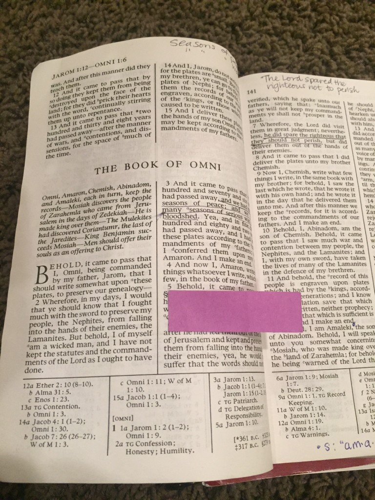 sticky note scripture bookmark