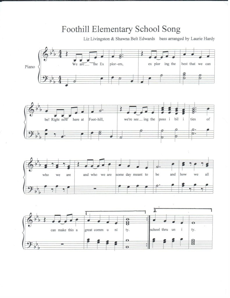 Foothill Elementary School Song with acc. by Laurie Hardy p.1 PDF