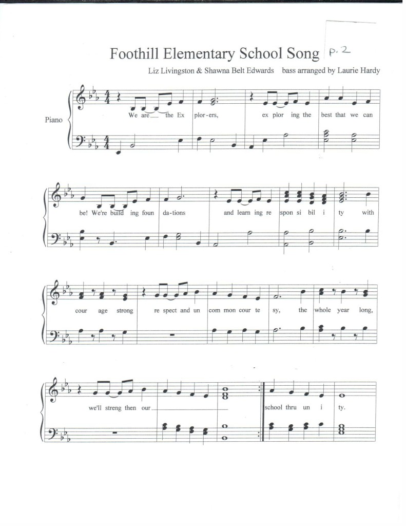 Foothill Elementary School Song with acc. by Laurie Hardy p.2 PDF