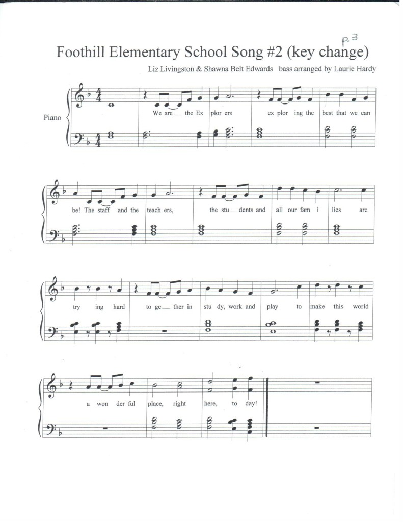 Foothill Elementary School Song with acc. by Laurie Hardy p.3 PDF