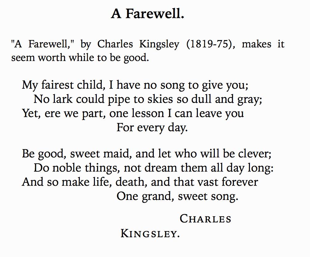A Farewell poem Charles Kingsley