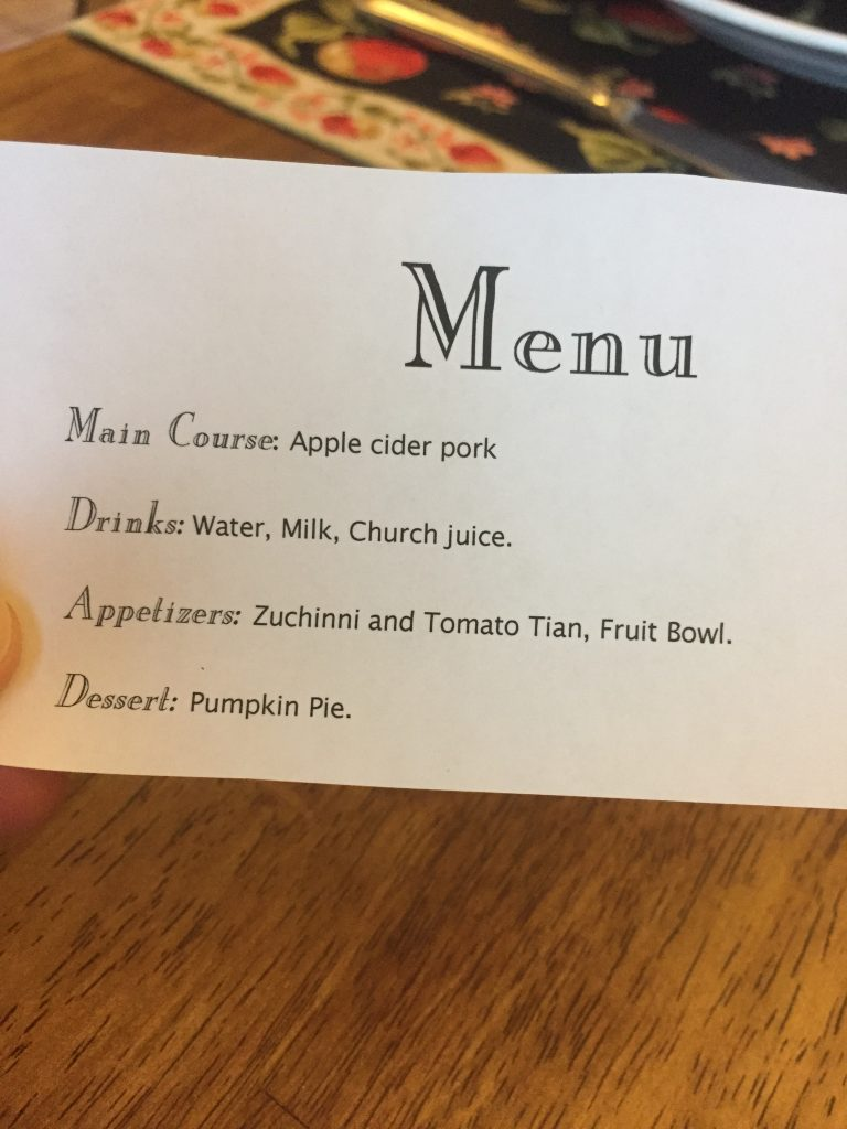 Welcome Fall dinner